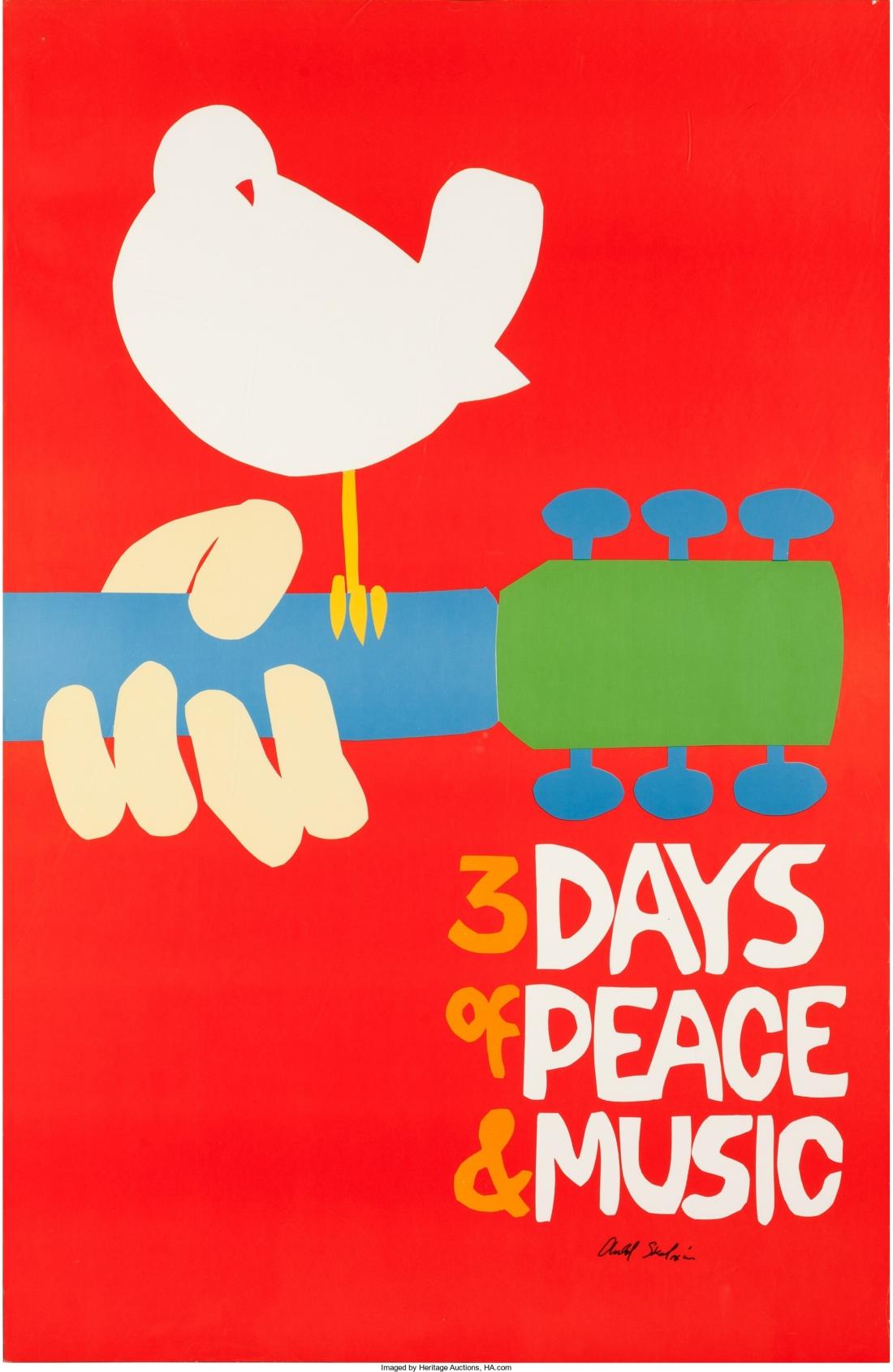 Woodstock Festival Poster Signed by Artist Arnold Skolnik (1969)_edited