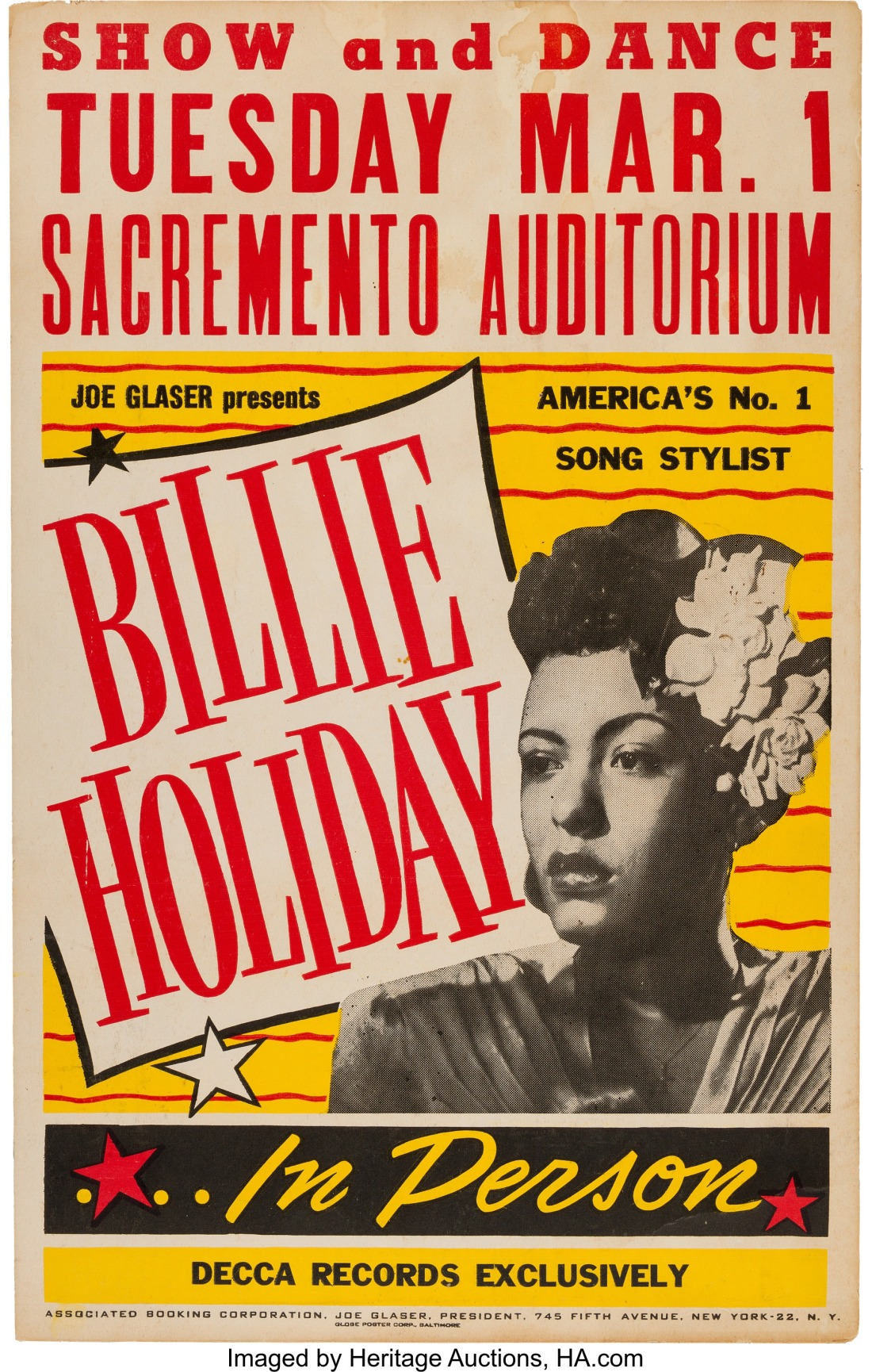 Billie Holiday Sacramento Auditorium Concert Poster (Joe Glaser Presents...