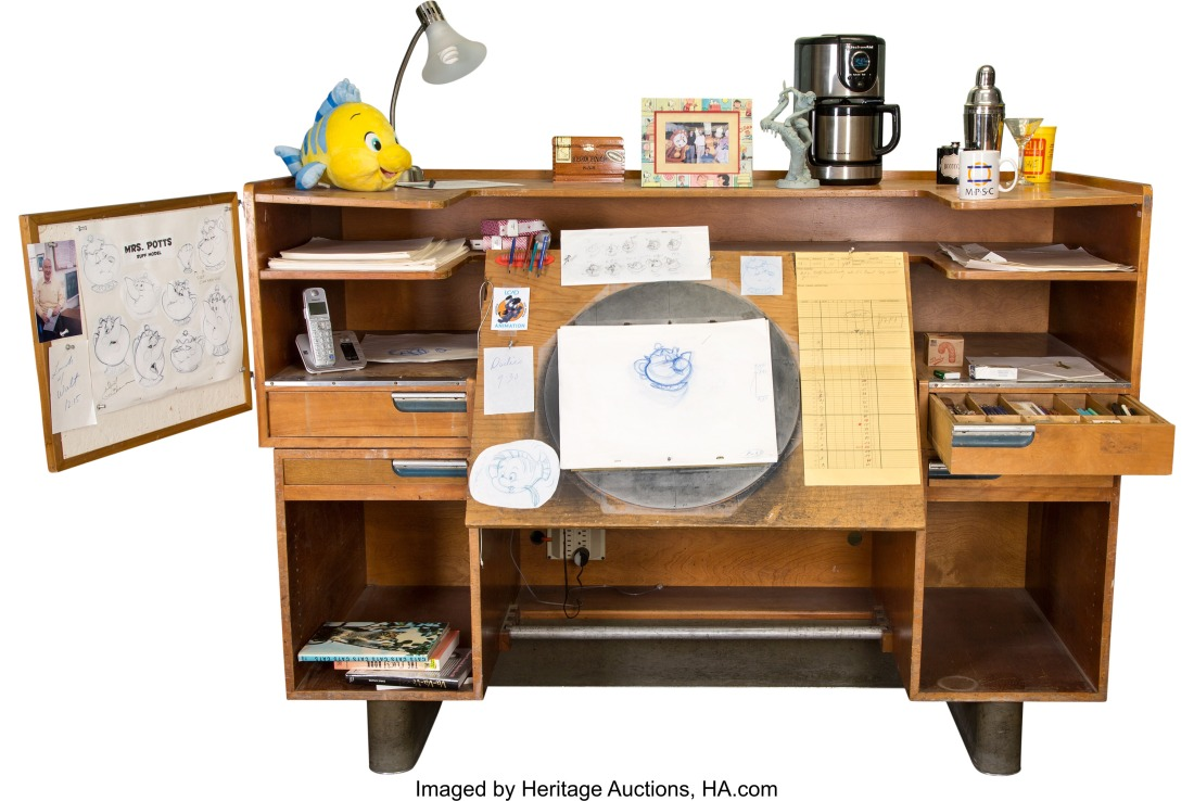Kem Weber Designed Disney Animation Desk and Eric Larson Pencil Tray (Wa...