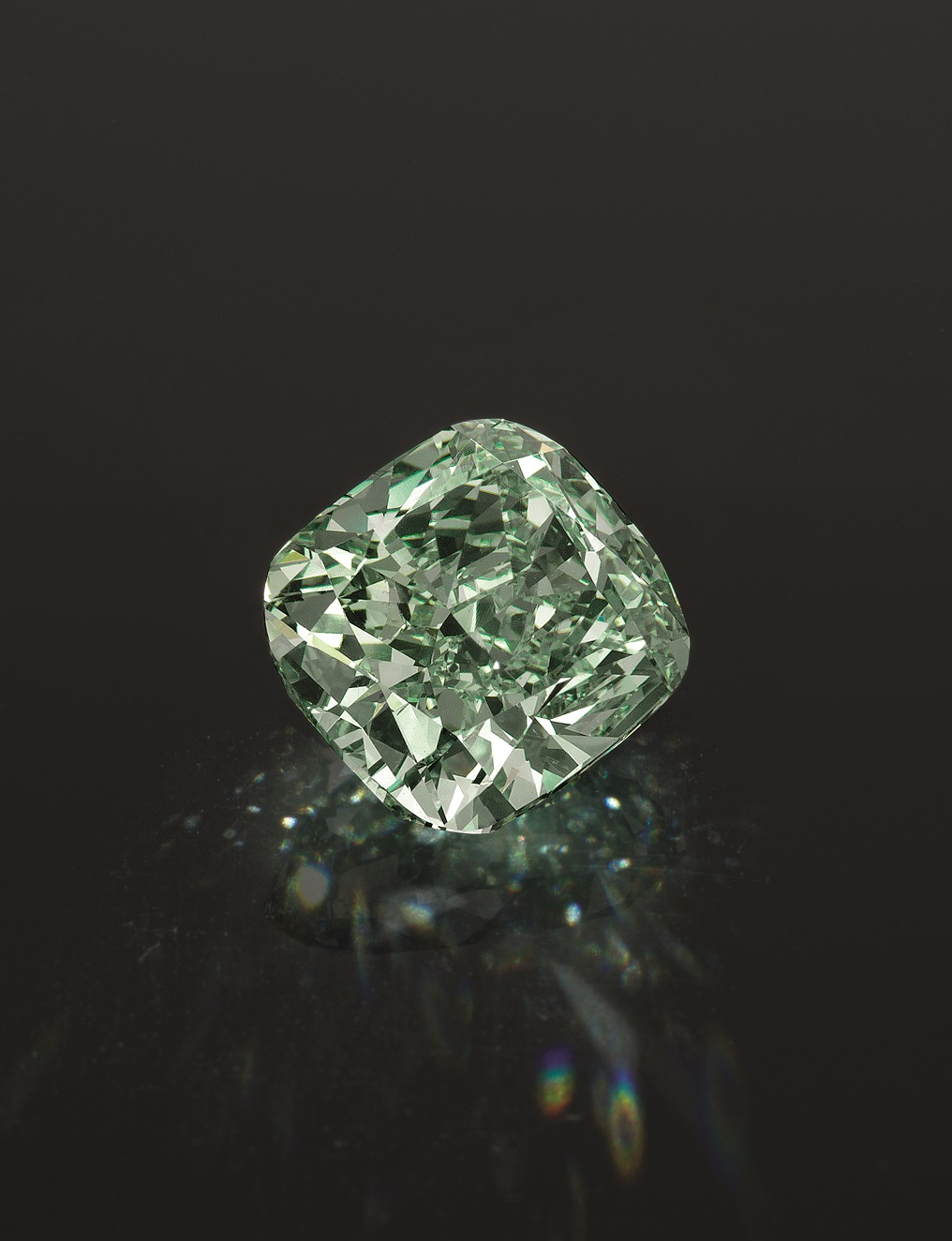 Rare and Important Fancy Intense Green Diamond Small
