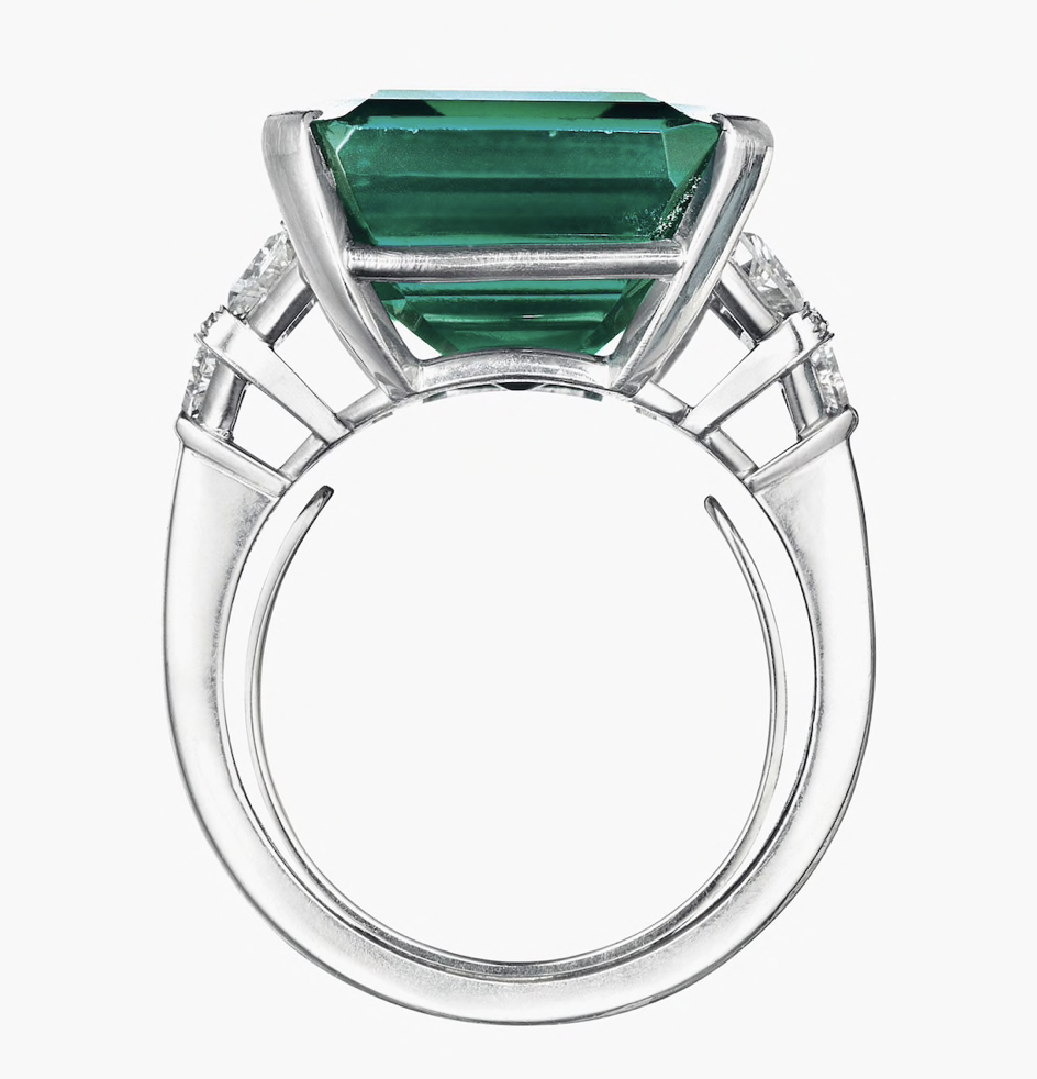 Rockefeller emerald in ring shot from the side sold Christie's June 2017