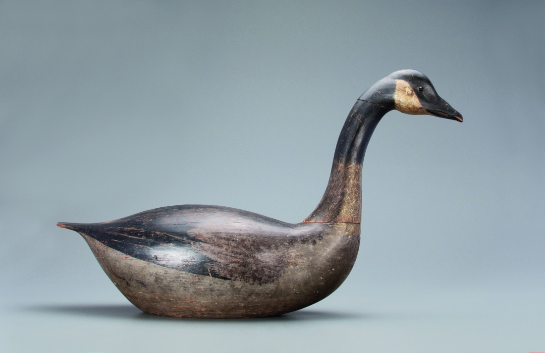 A full profile view of the record-setting Earnest-Gregory dovetailed goose decoy.