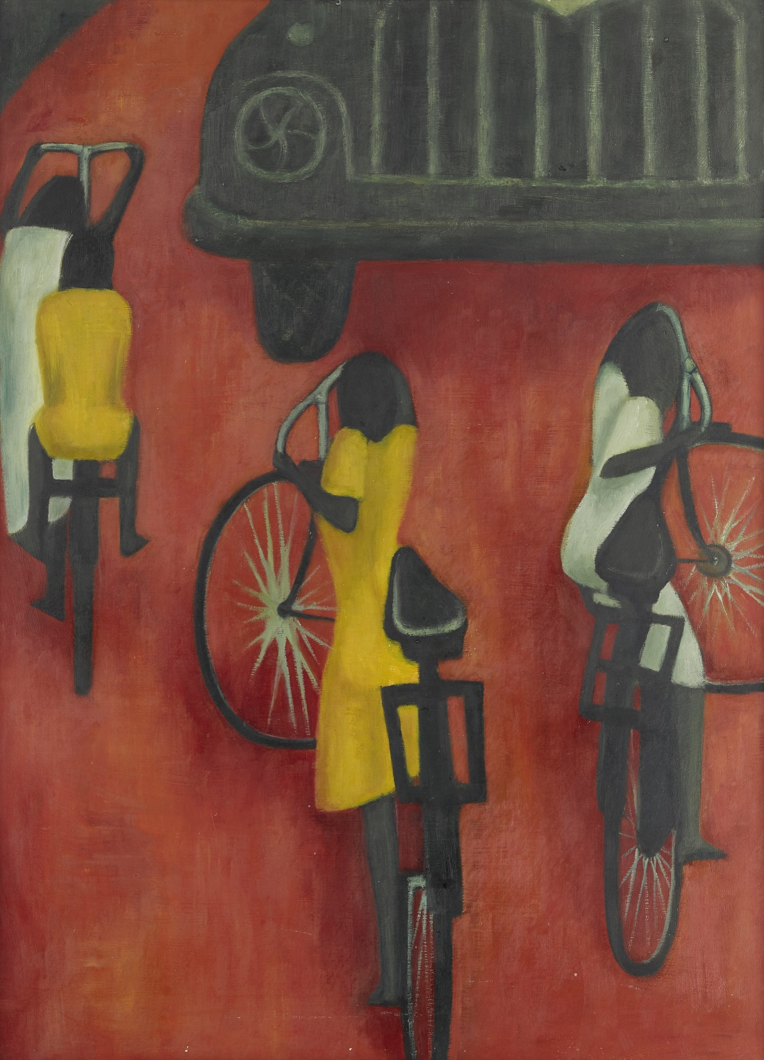 Children on Cycles by Demas Nwoko features a black truck at the top, with four black children, some in white and some in yellow on a red background. The four children are streamlined and abstract, with heads but no faces.