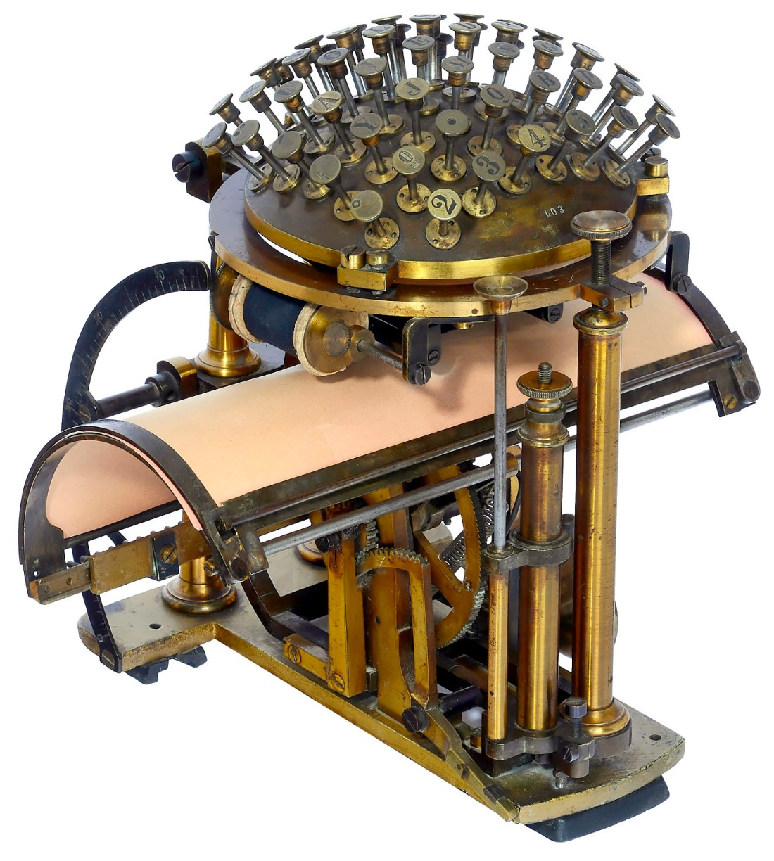 """A Malling-Hansen """"Writing Ball"""", an early typewriter, shown in three-quarter view. Its semi-circular keyboard appears above its curved typing surface."""