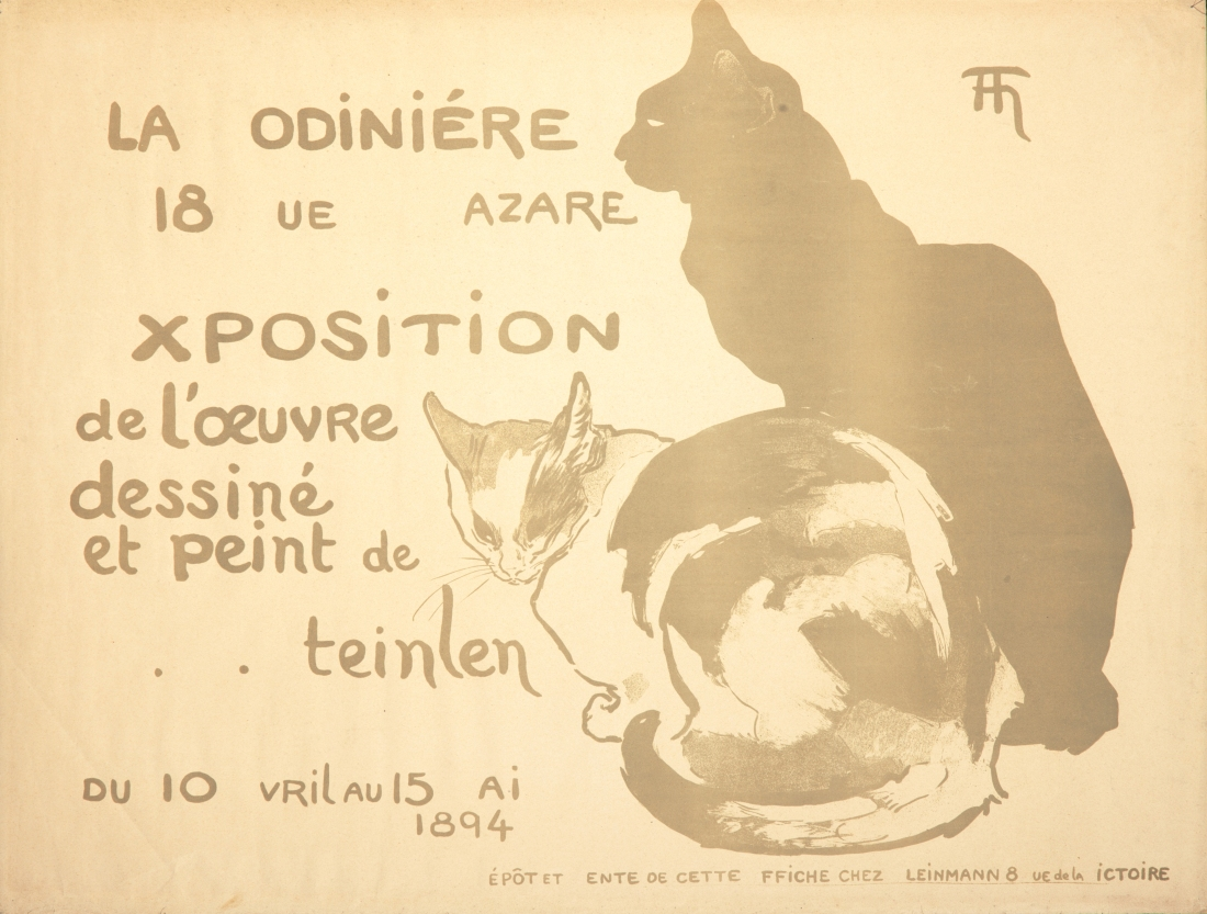 A progressive print of the 1894 Théophile-Alexandre Steinlen poster, advertising his first gallery show. It focuses on the gray areas of the image.