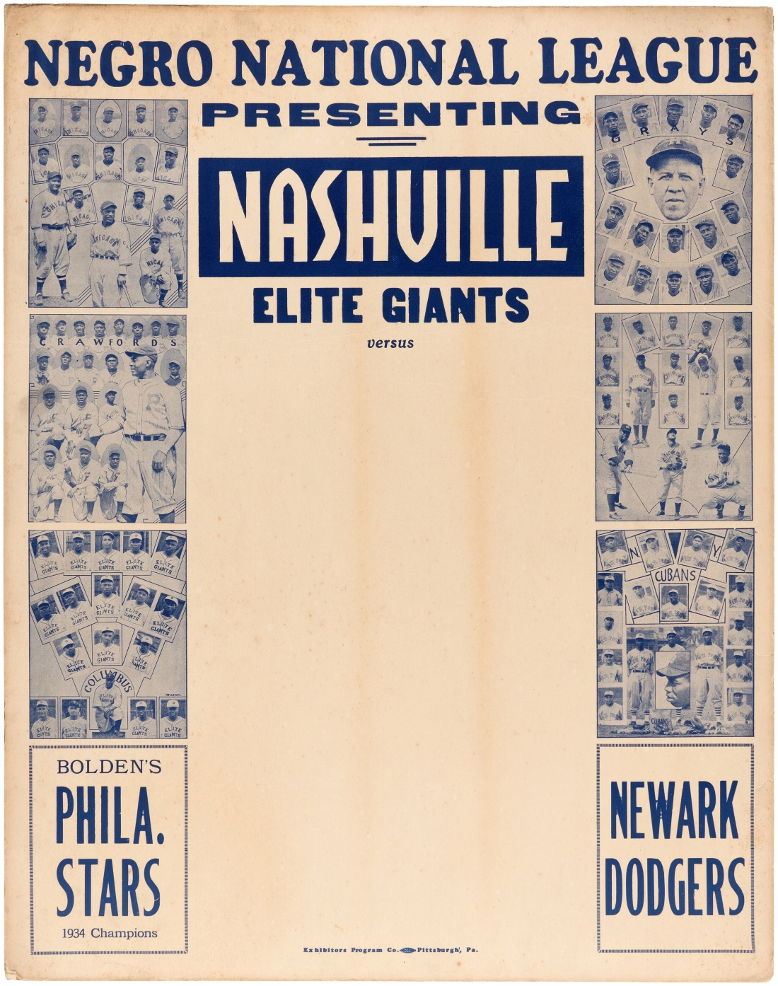 The first page of the 1935 Negro National League broadside shows group shots of six of the eight teams.