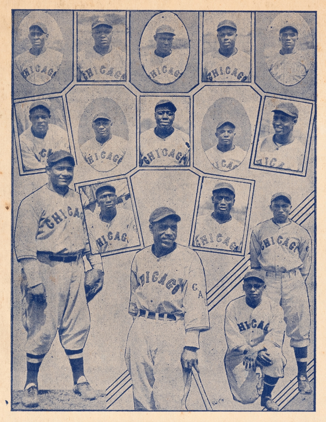 The Chicago American Giants team from the 1935 Negro League Baseball broadside.