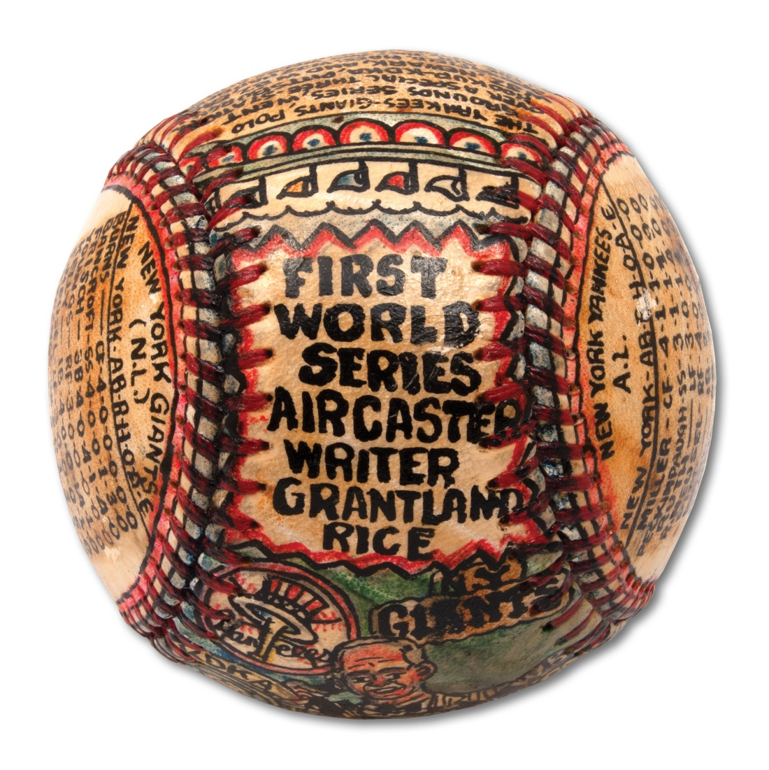 """A baseball transformed by self-taught artist George Sosnak. This angle showcases the words """"First World Series Aircaster Writer Grantland Rice."""""""