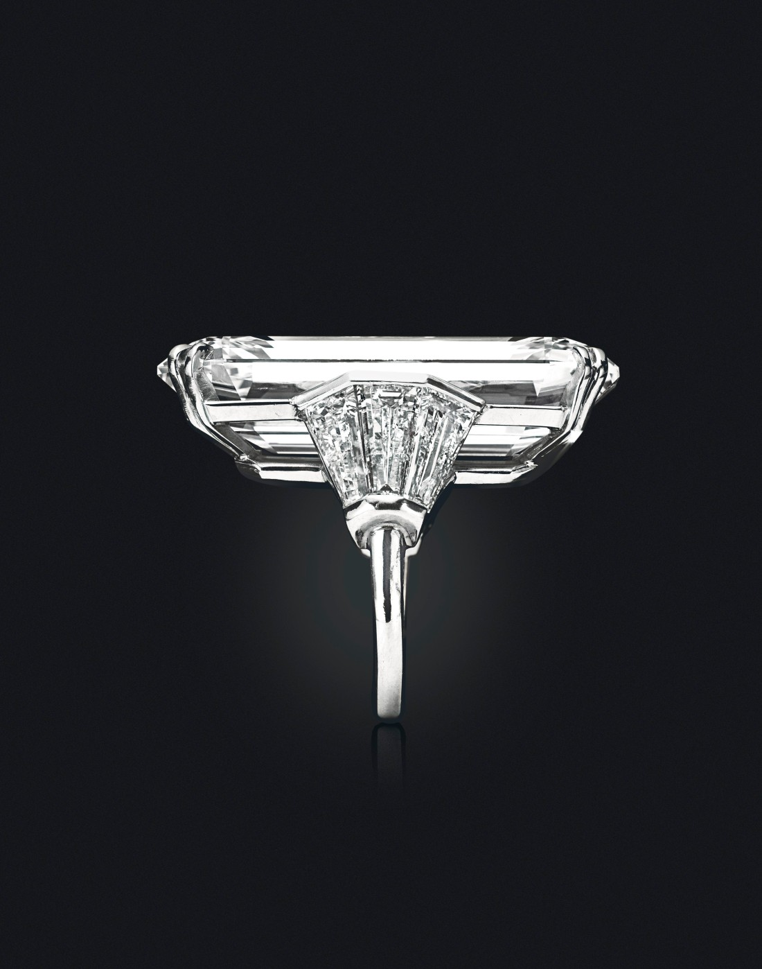The Mirror of Paradise 52.58-carat Golconda diamond, shot from the side on a black background and angled to display its ring setting.