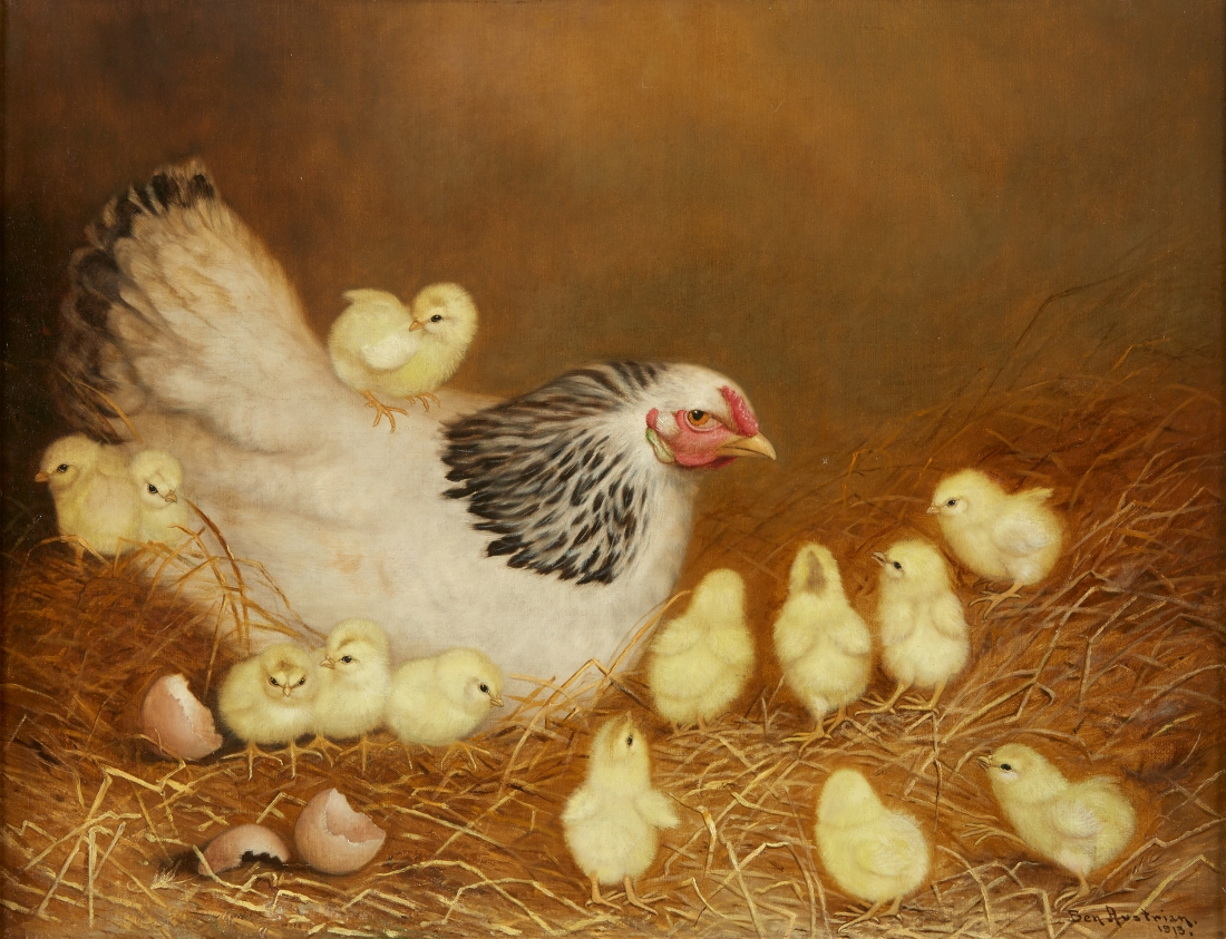 "Ben Austrian's ""White Hen with Chickens"" shows a mother hen at left, with 13 yellow chicks clustering near her on a bed of straw. One of the chicks perches on her back."