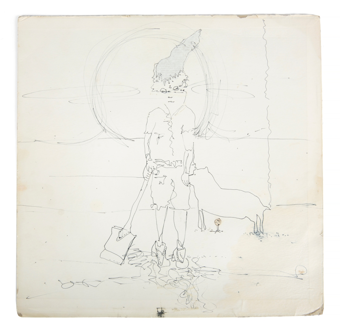 """Lennon did a sketch of a boy with a shovel and a dog on a blank area of his copy of the Beatles """"Butcher"""" album cover."""