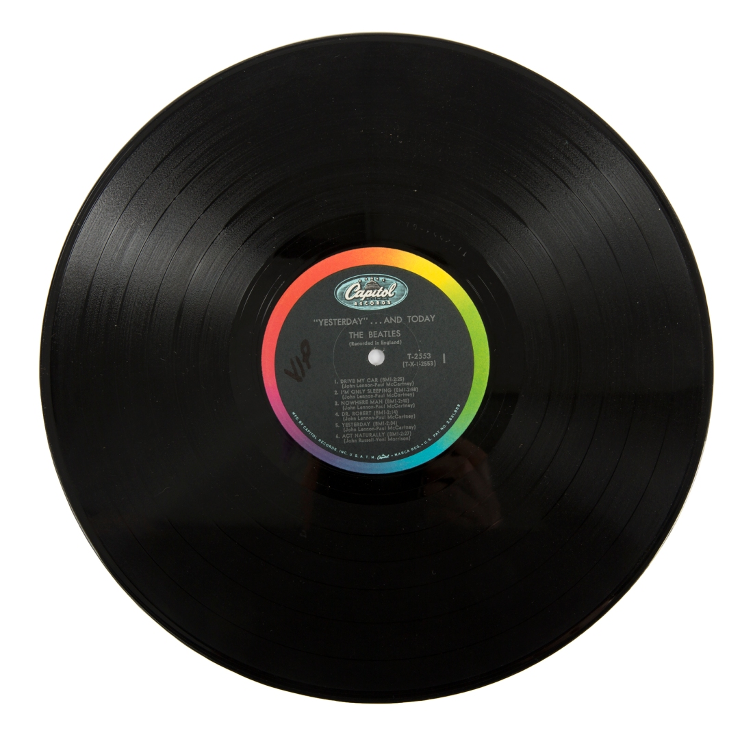 """An image of the vinyl record from John Lennon's personal copy of the Beatles """"Butcher"""" album cover. He did take it out and play it."""