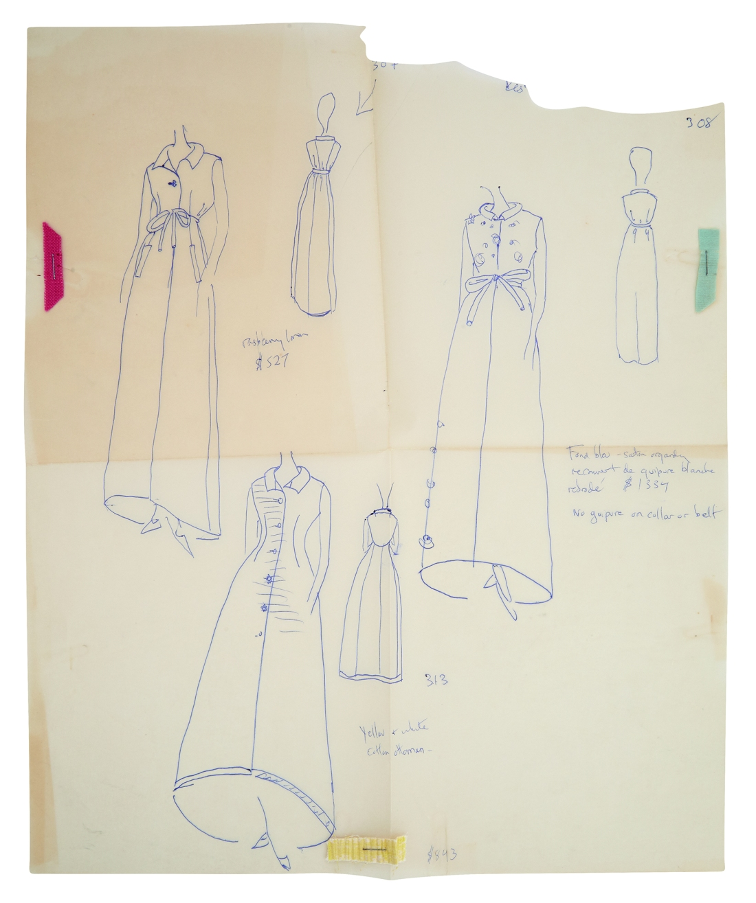 Fashion drawings done in blue ink the early 1960s by First Lady Jackie Kennedy, showing six figures in long dresses.